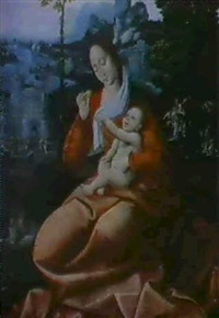 vierge a l'enfant by master of saint sang