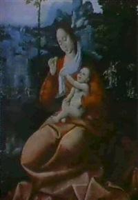 vierge a l'enfant by master of saint sang