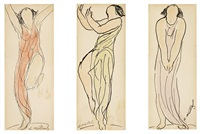 isadora duncan (3 works in 1 frame) by abraham walkowitz