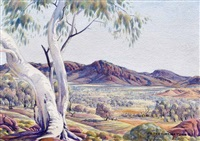 macdonnell range valley, central australia by albert namatjira