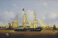 "the ship ""anna"" in new york harbor by frederick muller"