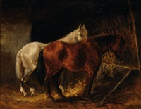 two horses in a stable by wouter verschuur the younger