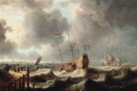 shipping in choppy waters by bonaventura peeters the elder