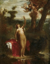 nude woman with cherubs by pierre andrieu