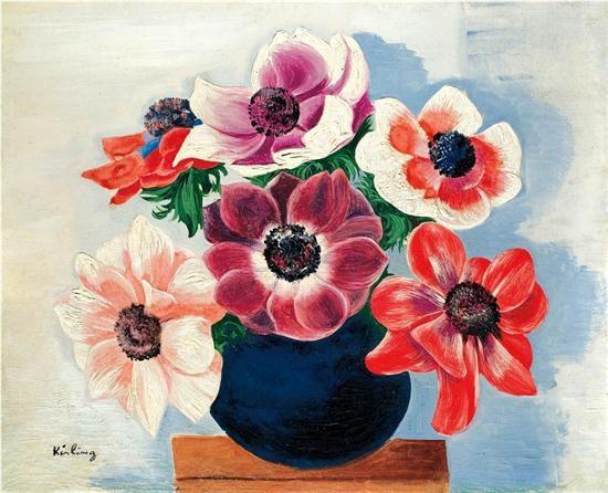 bouquet danemone dans un vase by moïse kisling