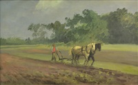 plowing the field, freeport, long island by charles henry miller