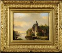 bord de rivière animé avec château by joseph bles