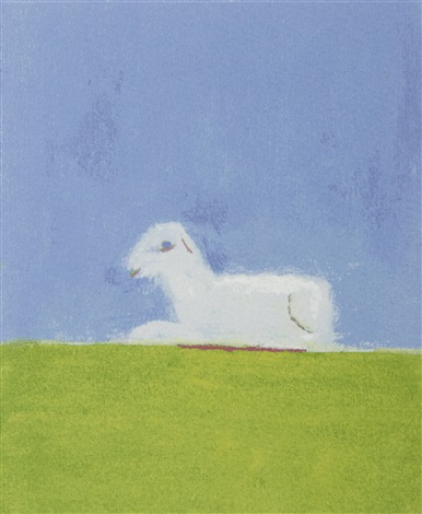 lamb in a green field by craigie aitchison