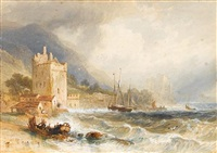 castle ruins on the irish coast in stormy weather by henry gastineau