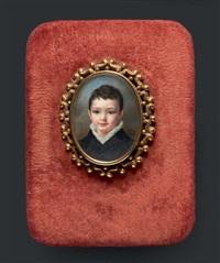 portrait d'un jeune garçonnet en redingote grise à col de velours, chemise de voile blanc et coiffé de fines mèches by pauline augustin