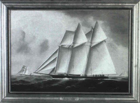 portrait of the top sail schooner wanderer by william gay yorke