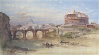 the river tiber and the castel sant'angelo, rome by henry parsons riviere