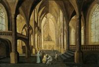 inneres einer gotischen kirche mit figuren by hans jurriaensz van baden