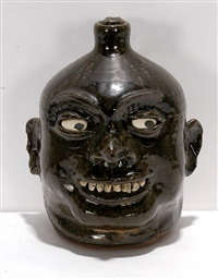 gorgeous big white smiling rock tooth face jug by lanier meaders