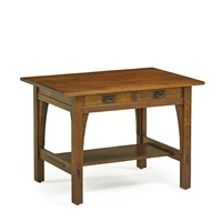 two-drawer library table by gustav stickley