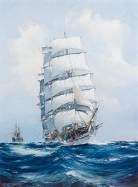 the square-rigged wool clipper argonaut under full sail and running before the wind, with the p.& o. steamer mooltan in her wake astern by jack spurling