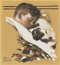 sleeping boy with dog by norman rockwell