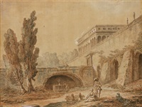 a couple in the gardens of a roman villa by hubert robert