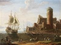 marine landscape by adriaen van der cabel