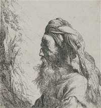 bust of a bearded oriental man with turban by jan lievens