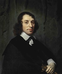 portrait of a young gentleman in a black costume with a white collar and cuffs, holding a glove by isaac luttichuys