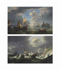 a calm harbour scene with ships anchored near a fortified rocky outcrop (+ shipping in stormy waters; pair) by pieter mulier the younger