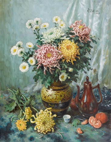 咏菊 chrysanthemum by liu guoshu