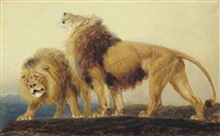 the lions roaring after their prey do seek their meat from god by briton riviere