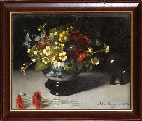 flowers in bowl with crystal ball by jules benyon
