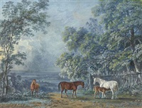 horses and a foal in an extensive landscape by george barret