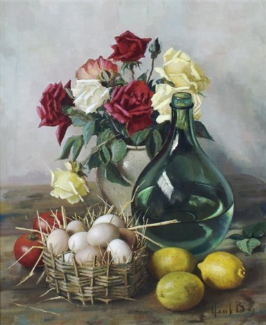 Still Life With Flowers And Fruit By Henk Bos