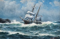 sailing ship by the coast by lars laurits larsen haaland