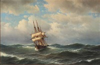 seascape with a ship in rough sea by carl ludwig bille