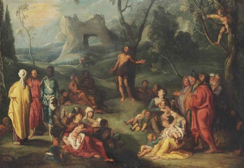 saint john the baptist preaching in the wilderness by simon de vos