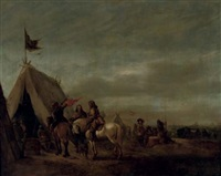 cavalry resting at an encampment, a town beyond by abraham van der hoef