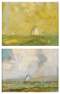ships in the sea (pair) by james a. mitchell