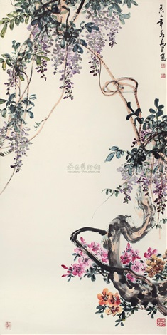 wisteria and azalea by ma wanli