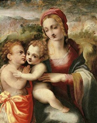 the madonna and child with the infant saint john the baptist by francesco del brina