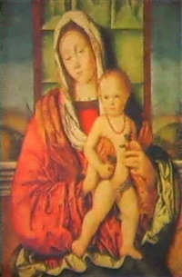 the madonna and child before a parapet and a canopy, a   landscape beyond by francesco zaganelli