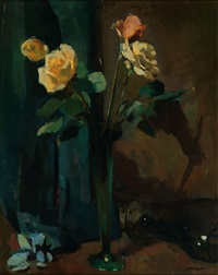 yellow roses in a vase by otto b. de kat