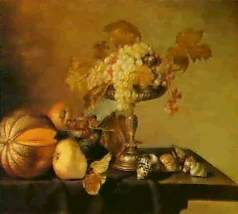 a still life of fruit and shells by cornelis jacobsz delff