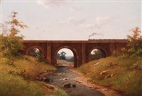 railway bridge accross the river brent (county of middlesex) by hendrik pieter koekkoek