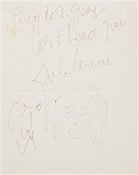 inscribed facial caricatures of himself and yoko by john lennon