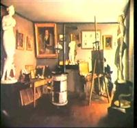 vue d'un atelier de peintre by charles-louis lesaint