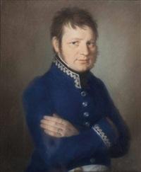 dame mit halskette und kreuzanhänger (+ herr mit verschränkten armen in blauem uniformrock; pair) by johann lorenz kreul