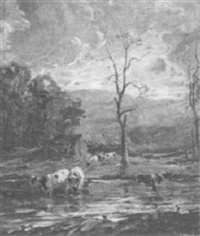 cows at the river by george glenn newell