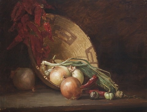 still life with onions, peppers and basket by guy rose