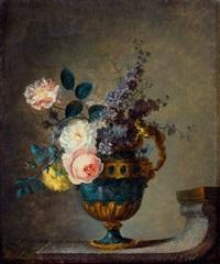 nature morte au bouquet de fleurs dans un vase à monture de bronze posé sur un entablement by le riche (leriche)