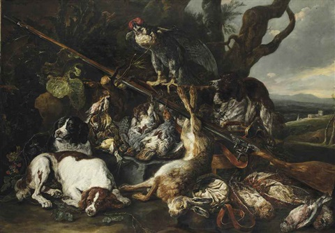 a hunting still life of a hare partridges snipes and other birds together with three spaniels a hooded falcon a rifle and a game bag and belt in a hilly landscape by jan fyt