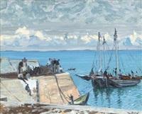 unloading the turf boats, kilmurvey pier, inis mhór, aran islands by maurice macgonigal